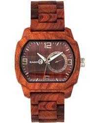 Earth Wood - Scaly Wood Bracelet Watch W/date Red 46mm - Lyst