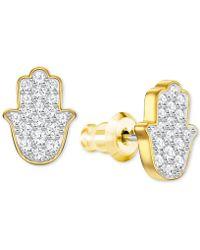 Swarovski - Gold-tone Crystal Hamsa Hand Stud Earrings - Lyst
