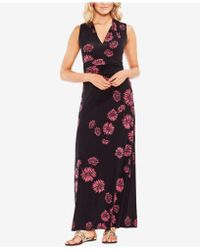 Vince Camuto - Printed Ruched Maxi Dress - Lyst