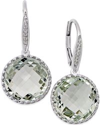 Macy's - Green Amethyst (11 Ct. T.w.) And Diamond Accent Drop Earrings In 14k White Gold - Lyst