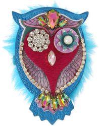 Betsey Johnson - Gold-tone Multi-stone & Faux Fur Owl Pin - Lyst