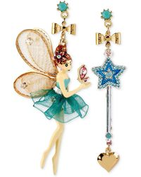 Betsey Johnson - Antique Gold-tone Fairy And Wand Mismatch Drop Earrings - Lyst