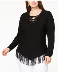 INC International Concepts - Plus Size Lace-up Fringe Tunic Sweater, Created For Macy's - Lyst