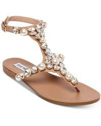 Steve Madden - Chantel Embellished Flat Sandals - Lyst
