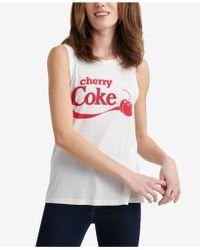 577ea2a82889e Lyst - Forever 21 Women s Cherry Coke Stripe Crop Top in White
