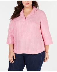 e397f4b5317 Lyst - Charter Club Plus Size Linen Utility Shirt
