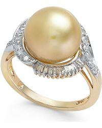 Macy's - Cultured Golden South Sea Pearl (11mm) And Diamond Ring (1/2 Ct. T.w.) In 14k Gold - Lyst