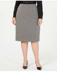 Anne Klein - Plus Size Houndstooth Pencil Skirt - Lyst