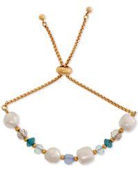 Laundry by Shelli Segal - Gold-tone Stone & Imitation Pearl Beaded Slider Bracelet - Lyst
