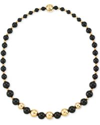Signature Gold - Onyx Beaded Necklace (6, 8 And 10mm) In 14k Gold - Lyst