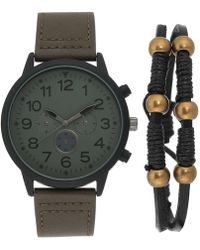 INC International Concepts - Olive Green Leather Strap Watch 45mm Gift Set, Created For Macy's - Lyst