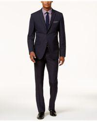 Perry Ellis - Men's Slim-fit Navy Tonal Plaid Suit - Lyst
