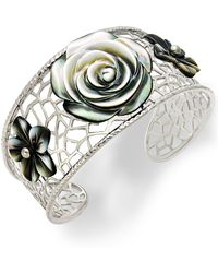 Macy's - Sterling Silver Cuff Bracelet, Cultured Tahitian Mother Of Pearl Flower Bangle - Lyst