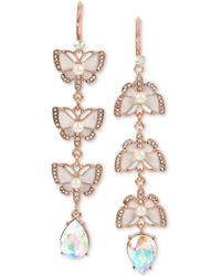 Betsey Johnson - Rose Gold-tone Crystal & Imitation Pearl Butterfly Mismatch Earrings - Lyst