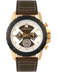 Morphic - M57 Series Chronograph Leather-band Watch - Gold/olive - Lyst