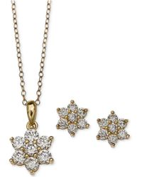 Giani Bernini - Cubic Zirconia Flower Pendant Necklace And Stud Earrings Set In 18k Gold-plated Sterling Silver - Lyst