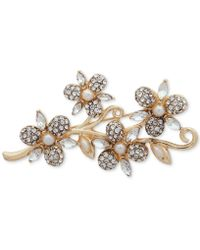 Anne Klein - Gold-tone Crystal & Imitation Pearl Flower Pin, Created For Macy's - Lyst