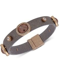 Lonna & Lilly - Gold-tone Crystal & Stone Faux Leather Flex Bracelet - Lyst