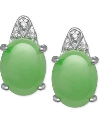 Macy's - Jade (8mm X 10mm) And Diamond Accent Stud Earrings In Sterling Silver - Lyst