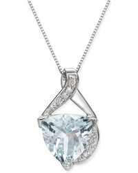 "Macy's - Aquamarine (2-9/10 Ct. T.w.) & Diamond Accent 18"" Pendant Necklace In 14k White Gold - Lyst"