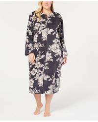 Miss Elaine - Plus Size Printed Fleece Long Zip Robe - Lyst