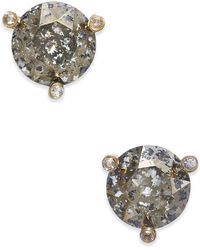 Kate Spade - Gold-tone Navy Blue And Clear Crystal Stud Earrings - Lyst