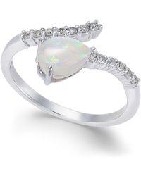 Macy's Opal (3/8 Ct. T.w.) & Diamond (1/8 Ct. T.w.) Statement Ring In 14k White Gold