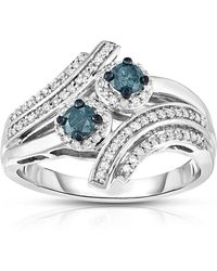 Macy's - Blue And White Two Stone Diamond Ring (1/2 Ct. T.w.) In Sterling Silver - Lyst