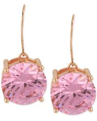 Betsey Johnson - Rose Gold-tone Pink Crystal Drop Earrings - Lyst