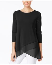 Alfani | Chiffon Crossover-hem Top, Only At Macy's | Lyst