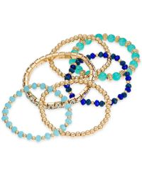 INC International Concepts - I.n.c. Gold-tone 6-pc. Set Bead & Crystal Stretch Bracelets, Created For Macy's - Lyst