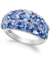 Macy's - Tanzanite (6 Ct. T.w.) And Diamond (1/8 Ct. T.w.) Dome Ring In 14k White Gold - Lyst