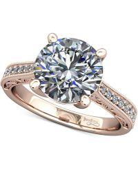 Macy's | Diamond Enhanced Filigree Mount Setting (1/6 Ct. T.w.) In 14k Rose Gold | Lyst
