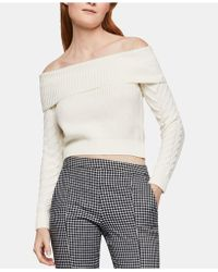 BCBGeneration - Off-the-shoulder Cable-knit-sleeve Sweater - Lyst