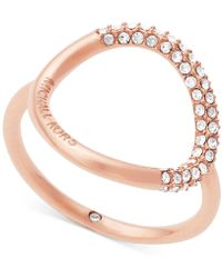Michael Kors | Brilliance Rose Gold Pavé Ring | Lyst