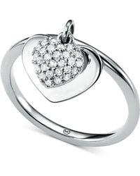 Michael Kors - Kors Love Cz Pavé Heart Sterling Silver Ring - Lyst