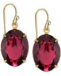 2028 - Gold-tone Burgundy Crystal Drop Earrings - Lyst