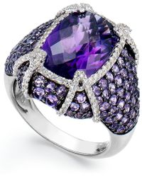Macy's - Sterling Silver Amethyst (9 Ct. T.w.) And White Topaz (1/2 Ct. T.w.) Ring - Lyst