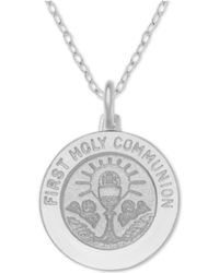 """Macy's - First Communion Medallion 18"""" Pendant Necklace In Sterling Silver - Lyst"""