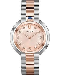 Bulova - Women's Rubaiyat Diamond-accent Two-tone Stainless Steel Bracelet Watch 35mm - Lyst