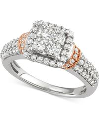 Macy's - Diamond Square Cluster Engagement Ring (1-1/3 Ct. T.w.) In 14k White And Rose Gold - Lyst
