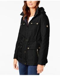Michael Kors - Michael Petite Hooded Quilted Coat - Lyst