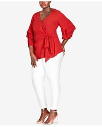 City Chic - Trendy Plus Size Ruffled Faux-wrap Top - Lyst