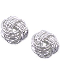 Nine West - Silver-tone Love Knot Stud Earrings - Lyst
