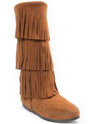 Minnetonka 3-layer Fringe Boot - Brown