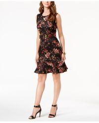 Ivanka Trump - Belted Floral-print Fit & Flare Dress - Lyst