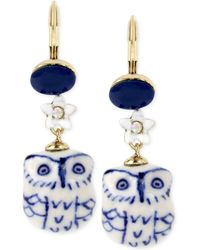 Betsey Johnson - Gold-tone Blue And White Ceramic Owl Drop Earrings - Lyst
