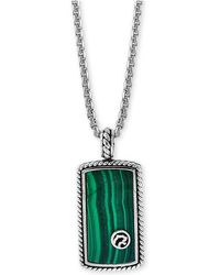 "Effy Collection - Malachite Dog Tag 22"" Pendant Necklace In Sterling Silver - Lyst"