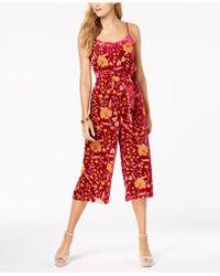 Nanette Lepore - Nanette By Belted Floral-printed Velvet Jumpsuit, Created For Macy's - Lyst