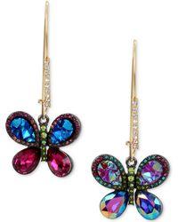 Betsey Johnson - Gold-tone Crystal Butterfly Mismatch Earrings - Lyst